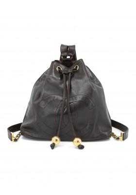 CHANEL CC Vintage Rucksack Lammleder schwarz. Guter Zustand