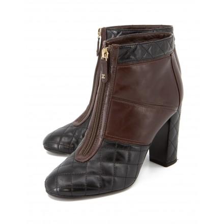 CHANEL Ankle Boots gestepptes Leder schwarz-braun Gr. 39. Sehr guter Zustand