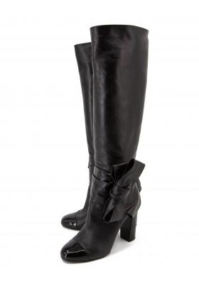 CHANEL Stiefel mit Absatz & Schleife Leder schwarz Gr. 39.5. Sehr guter Zustand