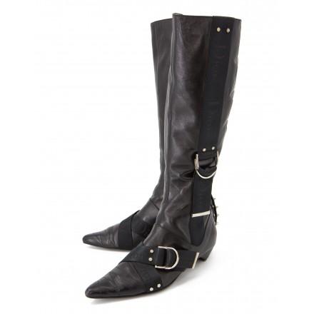 CHRISTIAN DIOR Vintage Stiefel Leder schwarz Gr. 39.5. Sehr guter Zustand