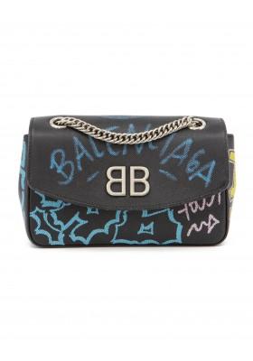 BALENCIAGA BB Chain S Graffiti Bag schwarz. Guter Zustand