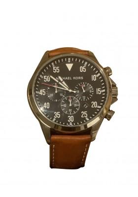 MICHAEL KORS Armbanduhr Edelstahl silberfarben mit Lederarmband braun. Zustand NEU mit Etikett.