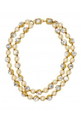 CHANEL Halskette 2-reihig mit Strass & Glasperlen