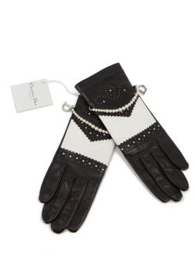 CHRISTIAN DIOR Lederhandschuhe schwarz-weiss mit Glasperlen Gr. 6 1/2. Zustand NEU m. Etikett