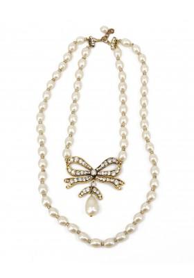 CHANEL Halskette 2-reihig Modeschmuck Perlenkette mit Schleife und Strasssteine goldfarben. Sehr guter Zustand