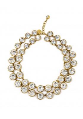 CHANEL Halskette 2-reihig Modeschmuck Strasssteine goldfarben. Sehr guter Zustand