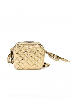 VALENTINO GARAVANI Rockstud Spike Double Zip Camera Bag Leder gold metallic. Zustand NEU