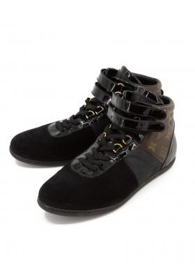 vLOUIS VUITTON Monogram High Top Sneakers Wildleder schwarz Gr. 39. Sehr guter Zustand