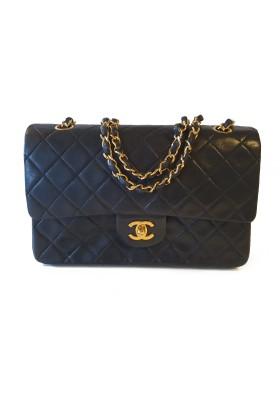 CHANEL Vintage Timeless Classic Double Flap Bag medium Lammleder schwarz 24 k vergoldet. Sehr guter Zustand