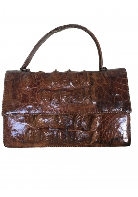 Kroko Tasche braun exotic leather bag