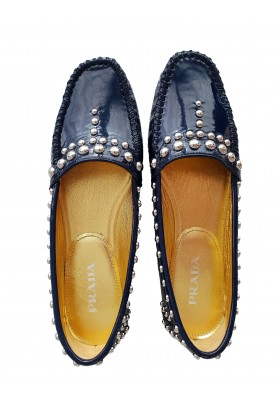 Navy Patent Leather Studded Mokassins Gr. 38